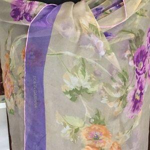 Auth.Dolce&Gabbana large silk chiffon floral scarf